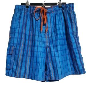 George | blue and orange gingham sport swim shorts